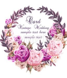Vintage Wedding card with roses wreath Vector. Beautiful flowers garland. Invitation elegant decor realistic 3d illustration Stock Vector