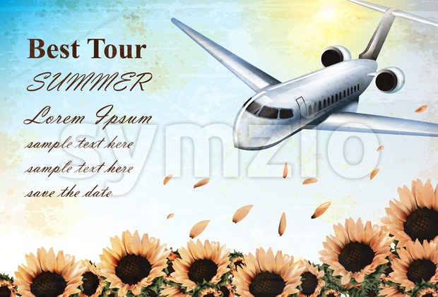 Summer Vacation card with tropic plane flying over sunflowers field Vector. Travel card exotic destination template banner