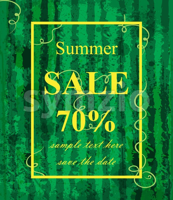 Summer sale template Vector. Watermelon texture background. Green trendy color