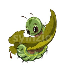 Caterpillar eating a leaf Vector. Cartoon character illustration Stock Vector