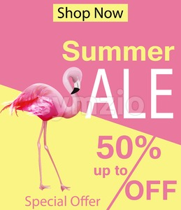 Flamingo Summer sale card Vector. violet and pink background Stock Vector