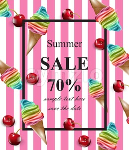 Summer sale card Vector. Ice cream pink banner background Stock Vector
