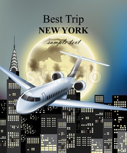 Plane flying over New York city at night Vector. Full moon and skyscrapers background Stock Vector