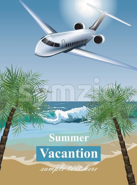 Summer Vacation card with tropic beach and a plane Vector. Travel card exotic destination template banner