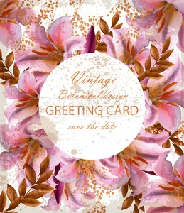 Greeting card with beautiful pink flowers. Golden abstract frames stylish card Stock Vector