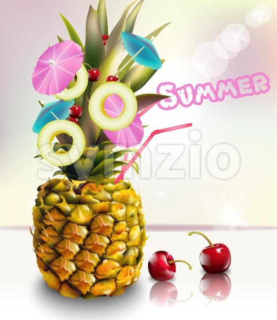 Pineapple summer fresh cocktail drink Vector illustration Stock Vector
