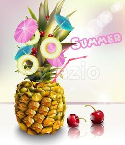 Pineapple summer fresh cocktail drink Vector illustration Stock Vector