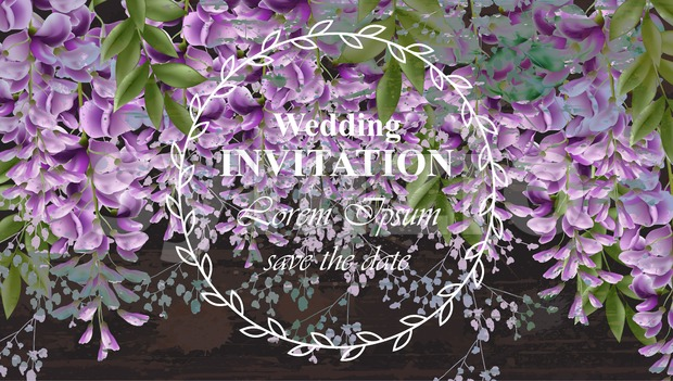 Wisteria flowers Wedding invitation card Vector. Gorgeous nature beauty design decoration Stock Vector