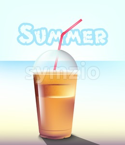 Frappe Vector realistic. Summer sea pastel background Stock Vector