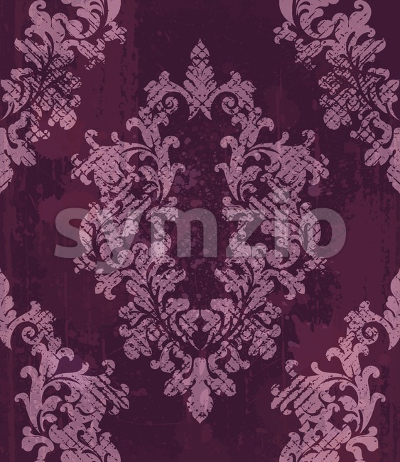 Vintage baroque pattern background Vector. Rich imperial decors on grunge texture. Royal victorian texture burgundy trendy color Stock Vector