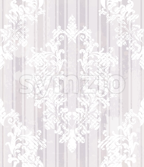 Vintage baroque pattern background Vector. Rich imperial decors on grunge texture. Royal victorian texture lilac trendy color Stock Vector