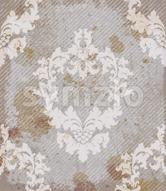 Vintage baroque pattern background Vector. Rich imperial decors with stained grunge texture. Royal victorian texture trendy color Stock Vector