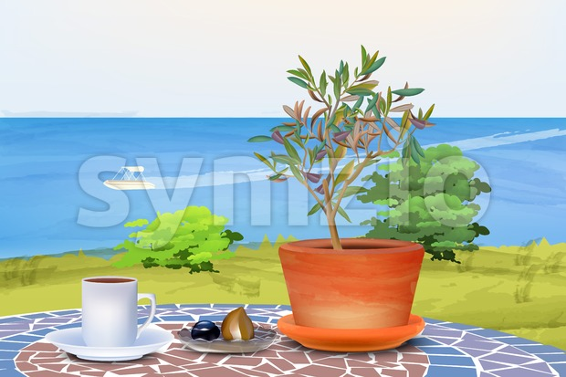 Coffee and olive tree at summer sea background Vector illustration Stock Vector