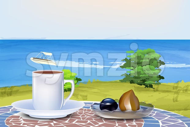 Coffee and oriental sweets on summer sea background Vector illustration