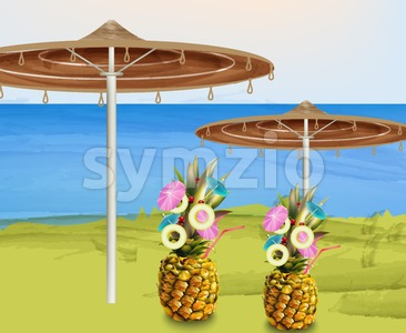 Summer umbrella and pineapple cocktails Vector illustration Stock Vector