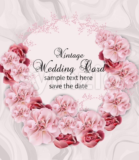 Wedding invitation with floral garland over marble texture Vector. Vintage Beautiful floral design delicate stone pattern. Trendy pink pastelate color Stock Vector