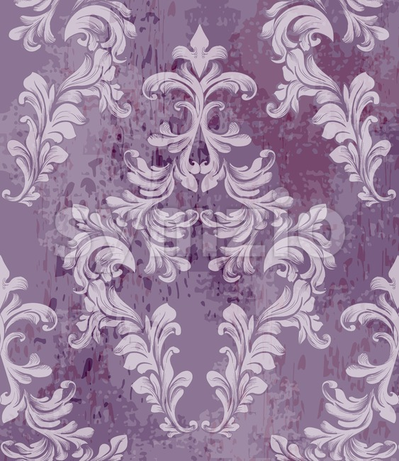 Vintage baroque pattern background Vector. Rich imperial decors on grunge texture. Royal victorian texture lavender trendy color Stock Vector