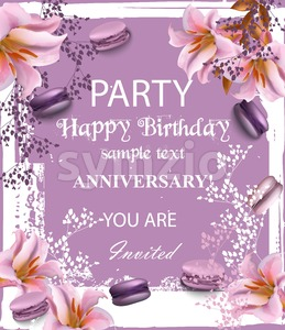 Birthday party invitation Vector. Flowers and macaroons over vintage background. trendy lilac color Stock Vector