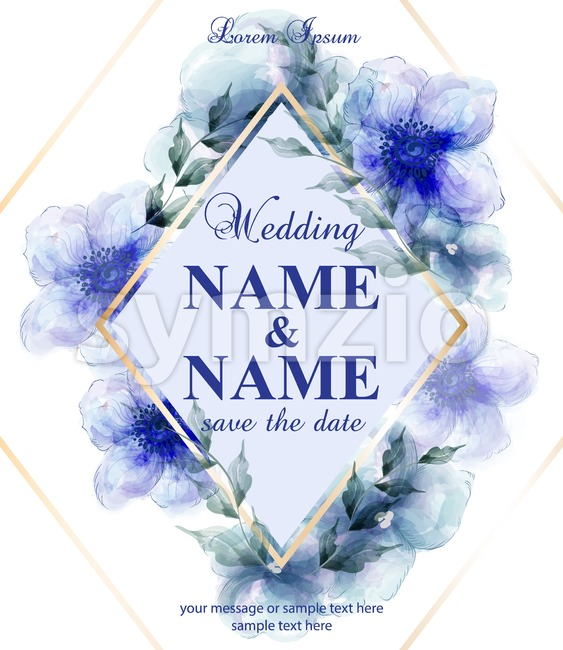 Wedding card with watercolor blue flowers Vector illustrations. Golden frame and floral decor Stock Vector