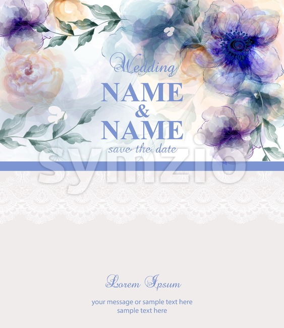 Vintage Wedding card with watercolor blue flowers Vector illustration Stock Vector