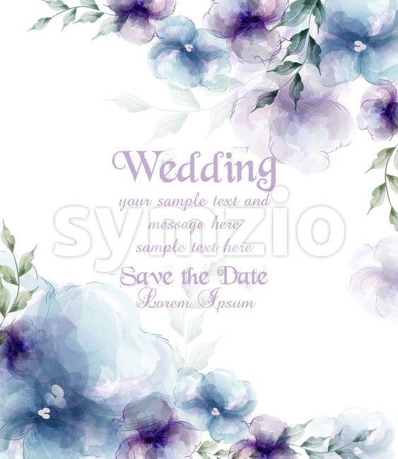 Wedding card with watercolor blue flowers Vector illustration Stock Vector