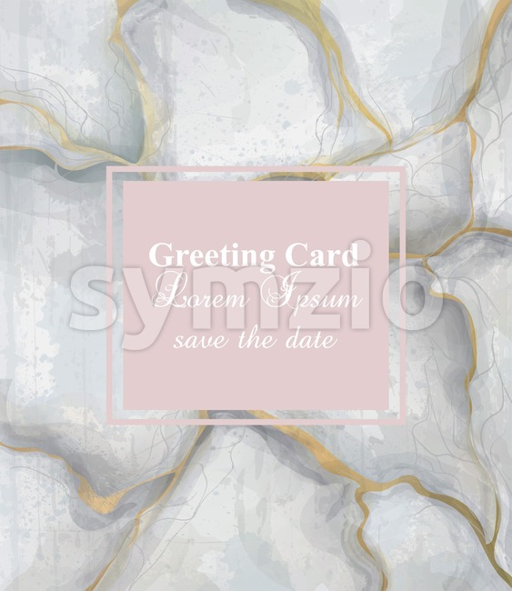 Greeting card golden gray marble background Vector. Luxury stone pattern texture Stock Vector