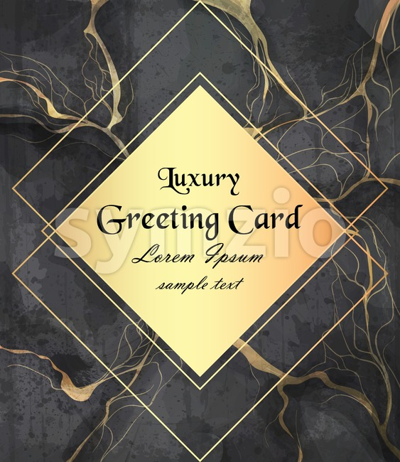 Luxury greeting card with golden frame on black marble background Vector. Luxury stone pattern texture