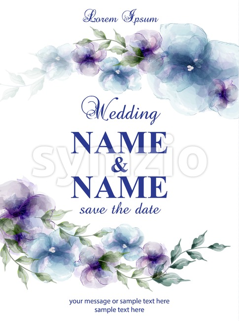 Wedding card with watercolor flowers Vector illustration Stock Vector