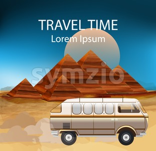 Egypt Summer Travel bus Vector. Camping trailer, egypt pyramids illustration Stock Vector
