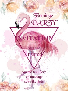 Flamingo party watercolor card Vector. Hand drawn background. Vintage paint stains original illustration Stock Vector