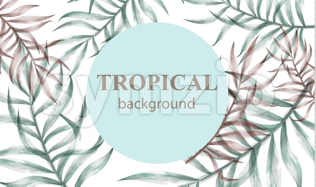 Watercolor tropic palm leaves Vector. Summer extotic background Stock Vector