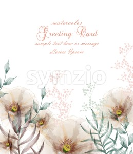 Watercolor flowers frame blossom card Vector. Vintage floral wedding invitation card. Summer decor bouquet Stock Vector