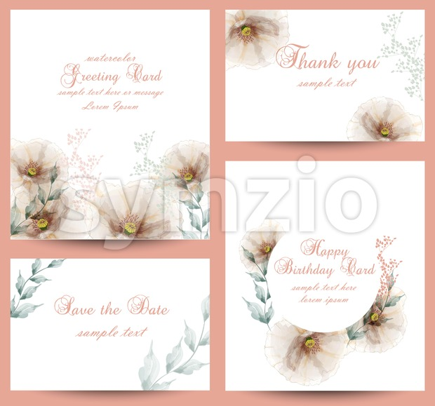 Watercolor flowers blossom card set Vector. Vintage greeting cards, wedding invitation, thank you postcard. Summer floral decoration bouquet Stock Vector