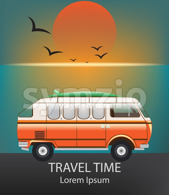 Summer Travel car Vector. Camping trailer on blue background Stock Vector