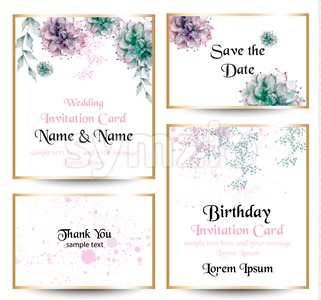 Watercolor flowers blossom card set. Vintage greeting cards, wedding invitation, thank you postcard. Summer floral Vector. flower decoration bouquet Stock Vector