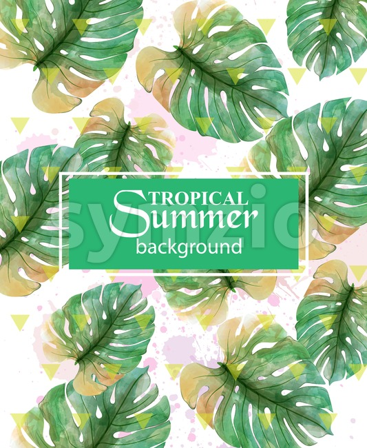 Summer Tropic palm leaves Vector. Exotic hot background illustration Stock Vector