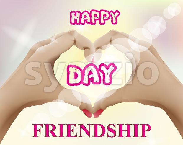 Friendship day card Vector. Realistic hands forming a heart shape illustration Stock Vector