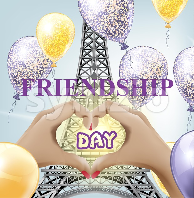 Friendship day card Vector. Eiffel tower love Paris illustration Stock Vector