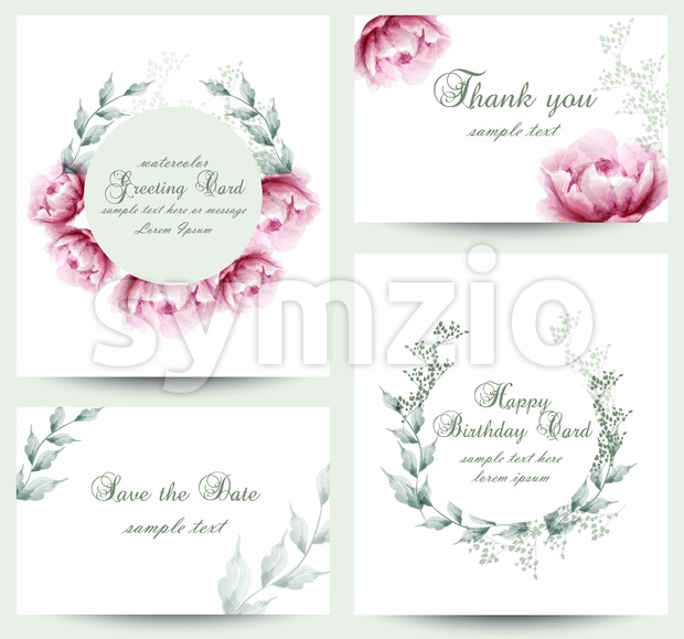 Watercolor peony flowers blossom card set. Vintage greeting cards, wedding invitation, thank you postcard. Summer floral peonies. flower decoration Stock Vector