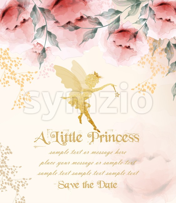 Happy birthday princess card Vector. Delicate floral bouquet