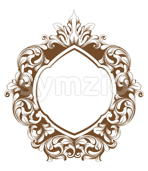 Baroque frame line art. Vector French Luxury rich intricate ornaments. Victorian Royal Style decor Stock Vector