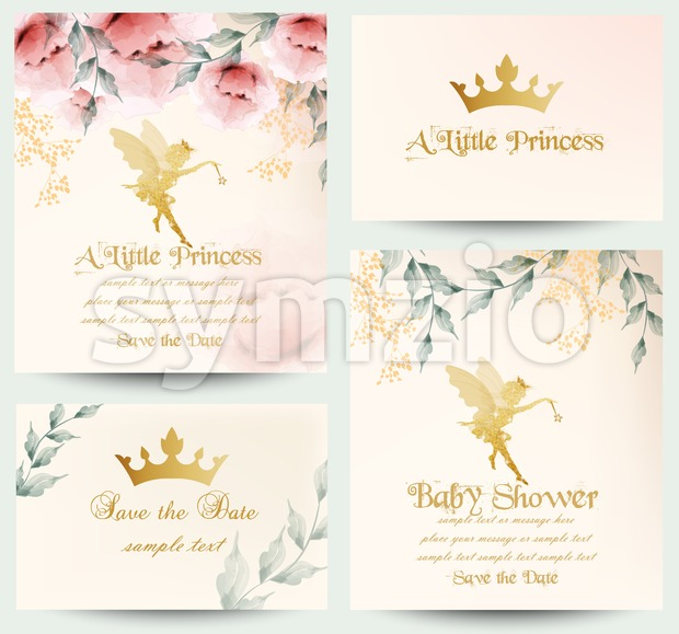 Happy birthday little princess cards set Vector. Delicate floral bouquet Stock Vector