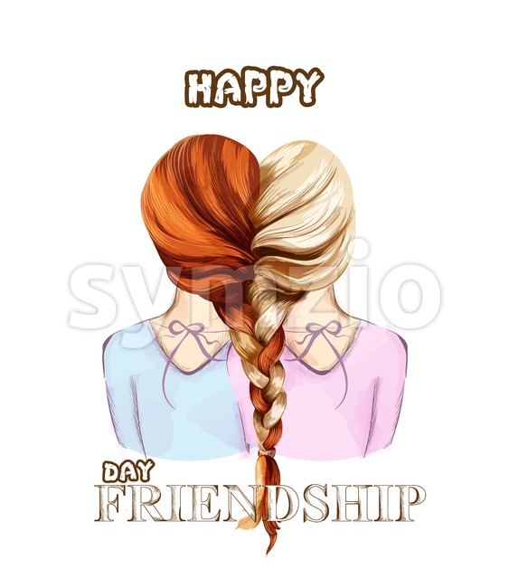 Happy Friendship day card Vector. Two girls united by hair braiding colorful illustration Stock Vector