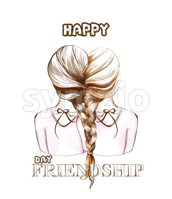 Happy Friendship day card Vector. Two girls united by hair braiding illustration. line art