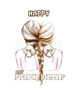 Happy Friendship day card Vector. Two girls united by hair braiding illustration. line art Stock Vector