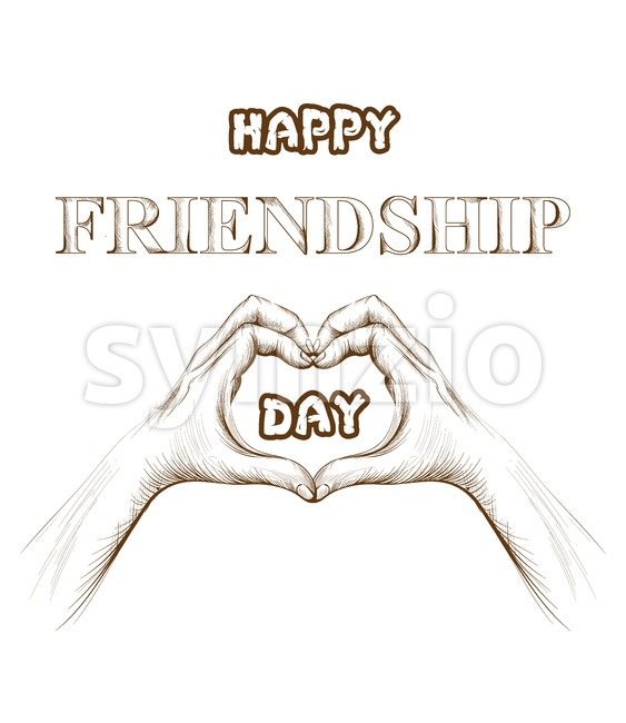 Friendship day card Vector. hands forming a heart shape. line art silhouette Stock Vector