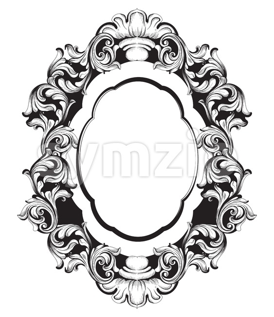 Baroque mirror frame line art. Vector French Luxury rich intricate ornaments. Victorian Royal Style decor Stock Vector