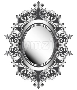 Baroque silver mirror frame. Vector French Luxury rich intricate ornaments. Victorian Royal Style decor Stock Vector