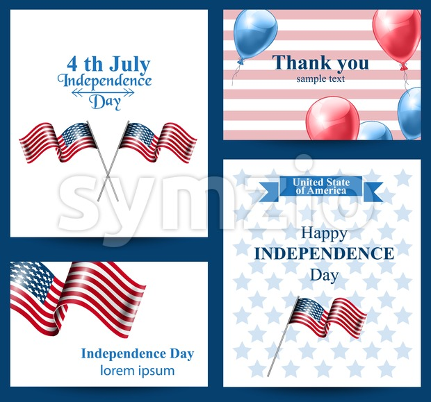 Happy Independence day american flag Vector cards. 4th of july postcard set collection