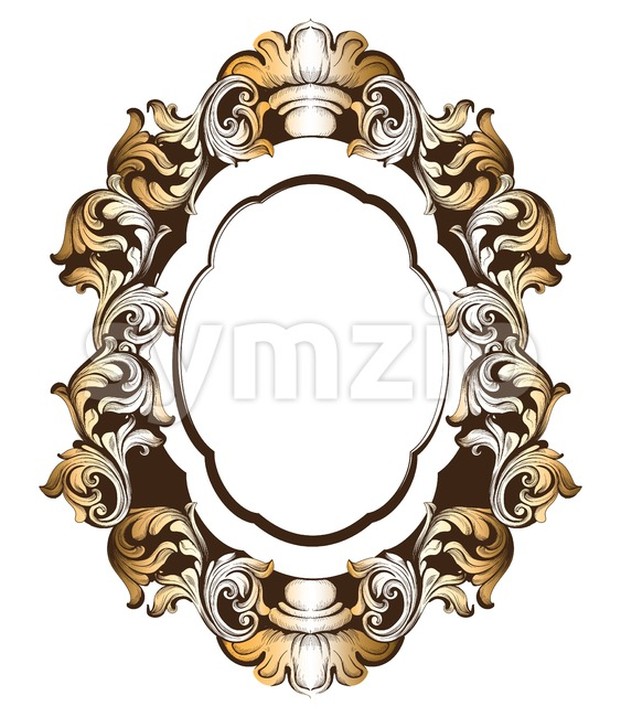 Baroque golden mirror frame. Vector French Luxury rich intricate ornaments. Victorian Royal Style decor Stock Vector